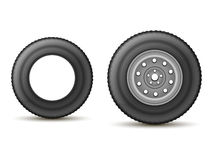 Tire and wheel. Automobile tire with the drive and without the disc on a white background Stock Image