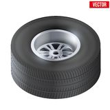 Tire and wheel of car. Top view. Vector Stock Images