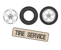 Tire wheel service, shop, garage - flat vector illustratio. Royalty Free Stock Photography