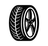 Tire and wheel. Vector black tire and wheel on white background Royalty Free Stock Photography