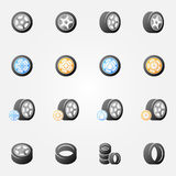 Tire and wheels vector icons set Royalty Free Stock Photography
