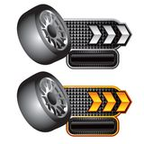 Tire on white and gold arrow checkered banners Stock Image