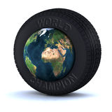 Tire with the world inside Royalty Free Stock Photo