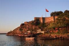 Tirebolu, κάστρο Αγίου Jean το βράδυ (Τουρκία) Στοκ Εικόνα