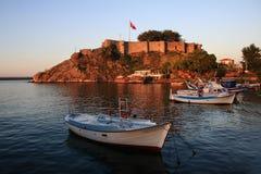 Tirebolu, het kasteel van Heilige Jean in de avond (Turkije) Stock Fotografie
