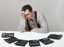 Tired accountant Royalty Free Stock Images