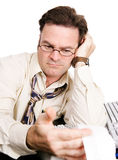 Tired Accountant Works Late Royalty Free Stock Photography