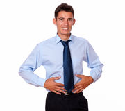 Tired adult businessman with stomach pain Royalty Free Stock Image