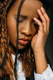 Tired African American female. Life problems Stock Images