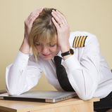 Tired airline pilot Royalty Free Stock Photos
