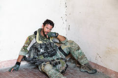 Tired American Soldier Royalty Free Stock Photo