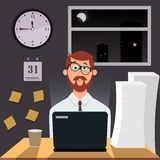 Tired amusing man works at night on laptop. On the wall hang hours, calendar and stickers. vector illustration