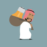 Tired arab businessman carrying a heavy idea Stock Images
