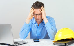 Tired architect. Royalty Free Stock Image