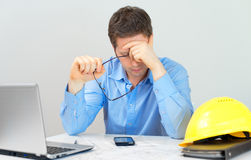 Tired architect. Royalty Free Stock Images