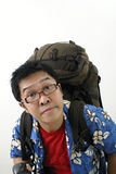 Tired asian backpacker Stock Photography