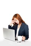 Tired Asian office girl is working Royalty Free Stock Photo