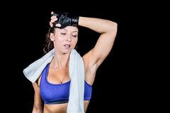 Tired athlete woman looking down Stock Photography