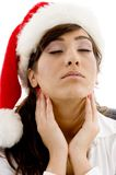 Tired attorney in christmas hat Royalty Free Stock Photos