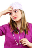 Tired attractive lady doctor Royalty Free Stock Photos