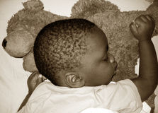 Tired Baby. Little boy sleeping on his bear.  Sepia Tone Royalty Free Stock Photo