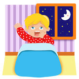 Tired baby. Colored illustration of a child that shows tiredness and sleep Stock Photo