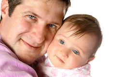 Tired baby with her father Royalty Free Stock Image