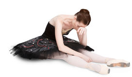 Tired ballerina after perfomance isolated on white background Stock Images