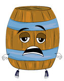 Tired barrel cartoon Stock Photo