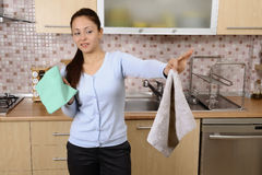 Tired beautiful women after cleaning the house Royalty Free Stock Image