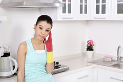 Tired beautiful women after cleaning the house Royalty Free Stock Images