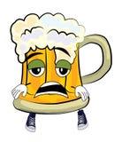 Tired beer cartoon Stock Image
