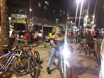 Bikers in avenida Medellin during Mexico City earthquake Royalty Free Stock Photo