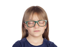 Tired blond girl with glasses sleeping Stock Image