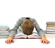 Tired and bored boy with books Stock Photography