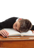 Tired or bored school student Stock Photo