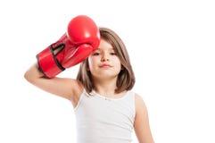 Tired boxer girl Stock Photos