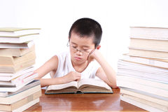 Tired boy. A tired boy between two pile of books royalty free stock images