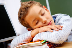 Tired boy. Portrait of cute lad sleeping with his head on copybooks in classroom Royalty Free Stock Photo