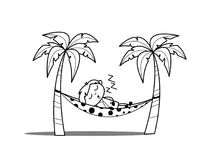 Tired Boy Sleeping on Hammock at Beach. Vector Illustration Royalty Free Stock Photo