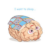 Tired brain with checkered blanket in cartoon style. Concept of tiredness, recreation and overloading of brain Royalty Free Stock Image