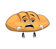 Tired bread cartoon Royalty Free Stock Images