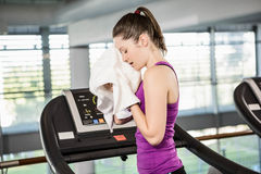 Tired brunette on treadmill wiping sweat with towel. In the gym Royalty Free Stock Image
