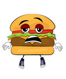 Tired Burger cartoon Royalty Free Stock Image