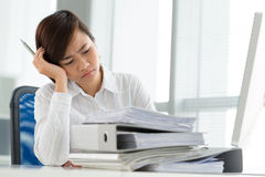 Tired business lady Royalty Free Stock Photos
