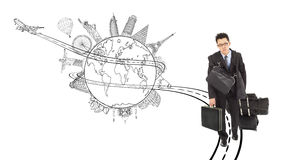 Tired business man pulling all baggages for worldwide trip. With sketch background Stock Photography