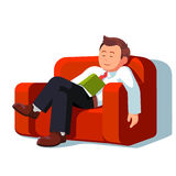 Tired business man sleeping during break time. Overworked or tired business man sleeping with book on the couch during break time at work. Exhausted office stock illustration