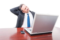 Tired business manager having heck pain Stock Photo