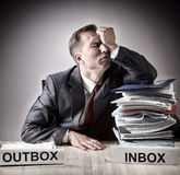 Tired of business paperwork. Stock Photos