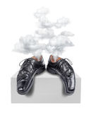 Tired business shoes exhaustion. Hectic business shoes burn-out, occupational exhaustion concept stock illustration